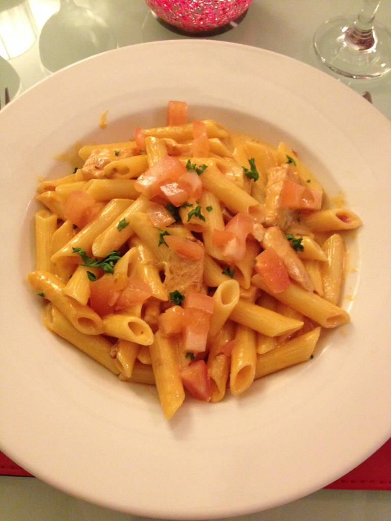 Gluten free pasta with salmon and vodka.