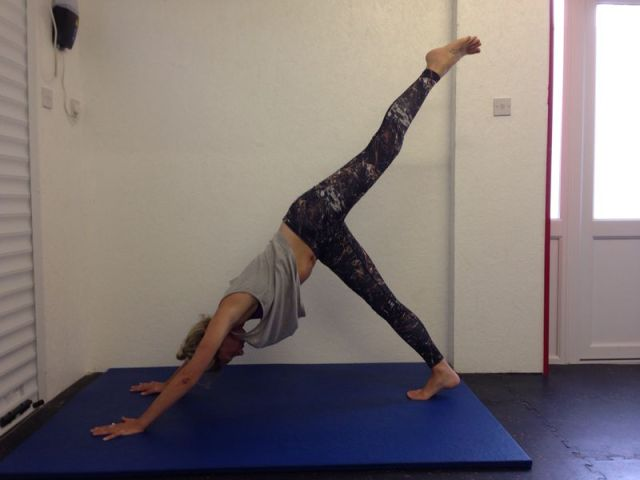 Using yoga and weight training to improve my health.
