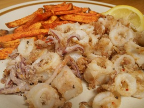 Gluten free almond dusted calamari with sweet potato fries
