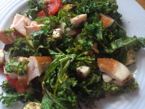 Hot gluten free kale and smoked chickensalad